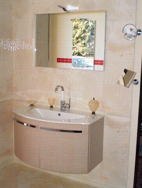 outlet mobile ekologica finitura rovere con lavabo, mensola ... - Arredo Bagno Lucera
