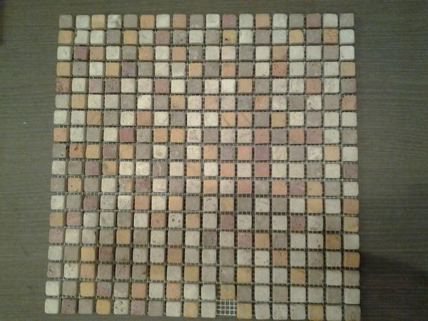Outlet mosaico in travertino burattato tessere mario