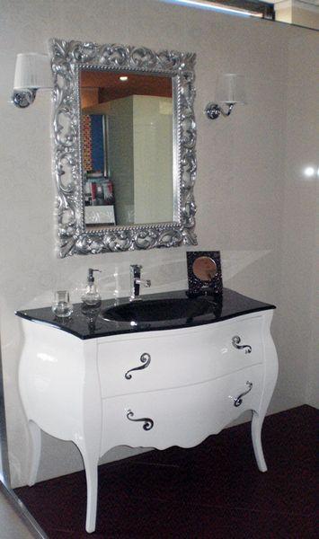 outlet mobile lirika bianco lucido con lavabo integrato e specchio ... - Arredo Bagno Lucera