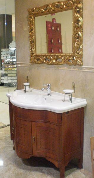 Outlet Mobile Windsor con lavabo e specchiera oro - Mario Lepore ...